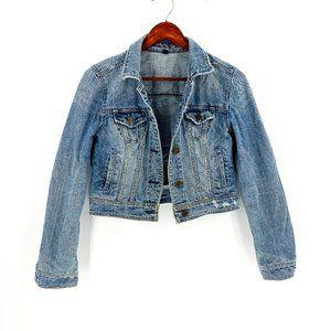 American Eagle Blue Denim Distressed Jean Jacket